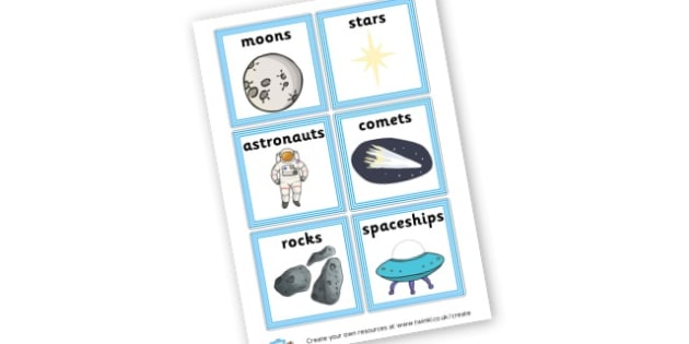 Large Space Names Cards - Space Literacy Primary Resources, Space, planets, Sun, moon, star
