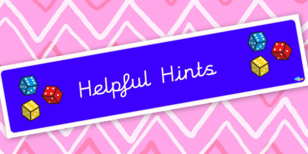 Helpful Hints Display Maths Banner - Classroom Banners Primary Resources, Banners, Classroom Signs