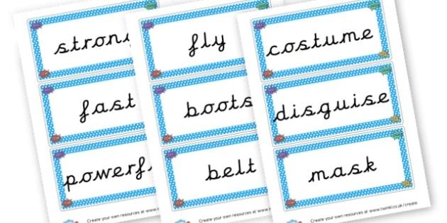 Superhero Key Word Cards - Superheroes, Literacy,  Primary Resources, superhero, role play,