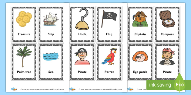 Pirate Flash Cards - Pirates Literacy Primary Resources, pirate, words