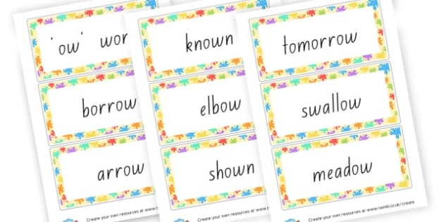 ow Word Cards - Words & Vocab Primary Resources, literacy, keywords, cvc, phonemes