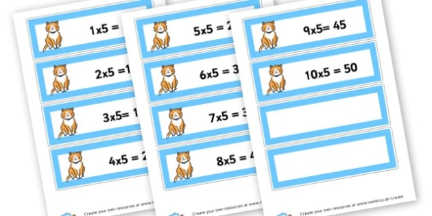 Cats 5 Times Tables Labels - Times Tables Primary Resources, multiply, times, number of, games, Times, Table, Tabe