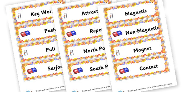 Forces and Magnets Keyword Cards - Forces & Motion Primary Resources, force, gravity, push, pull