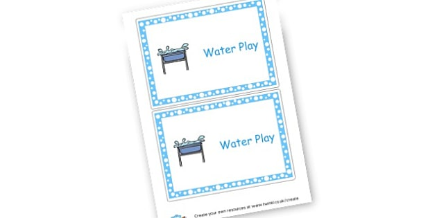 Water Play - Water Area Primary Resources, signs, area, zones, banner, poster
