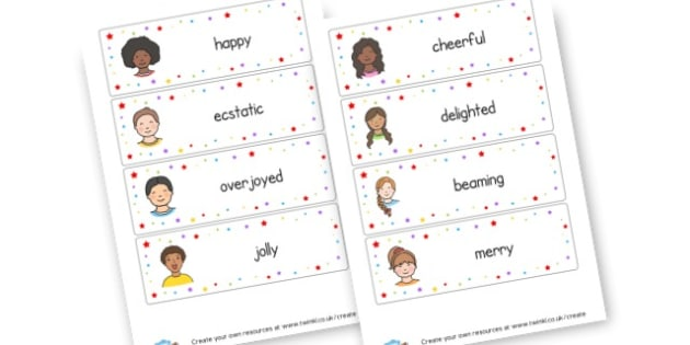 Happy Word Cards - My Emotions Primary Resources, emotion, feeling, happy, sad
