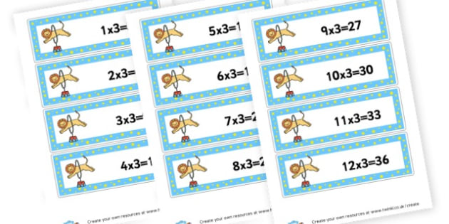3 X Tables Cards - Times Tables Primary Resources, multiply, times, number of, games, Times, Table, Tabe