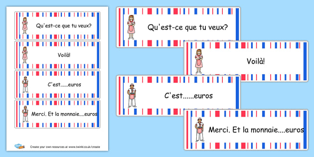 French Cafe Waiter/Waitress Cards - French Literacy Primary Resources,French,Languages,Literacy,Words