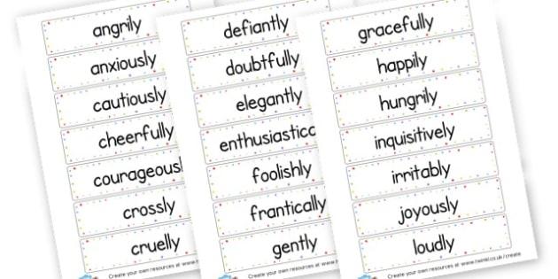 Adverb Word Cards - KS2 Verbs and Adverbs Primary Resources, Verbs, Adverbs, KS2 Words