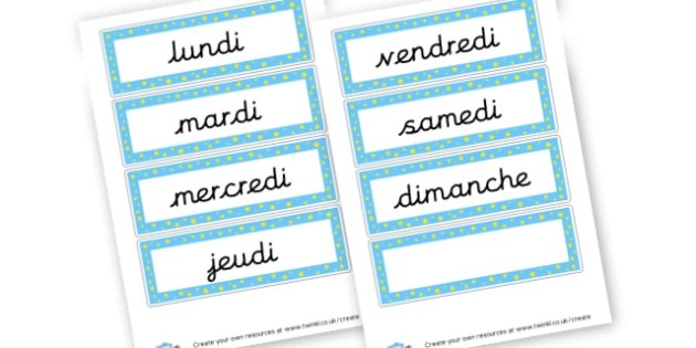 French Days of the Week Cards - French Days of the Week Primary