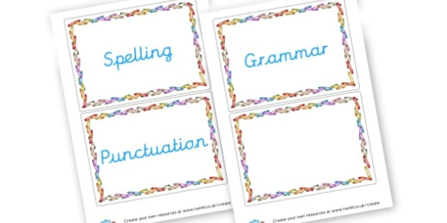 SPaG Signs - SPaG Primary Resources, Spelling, Punctuation, Grammar, Literacy