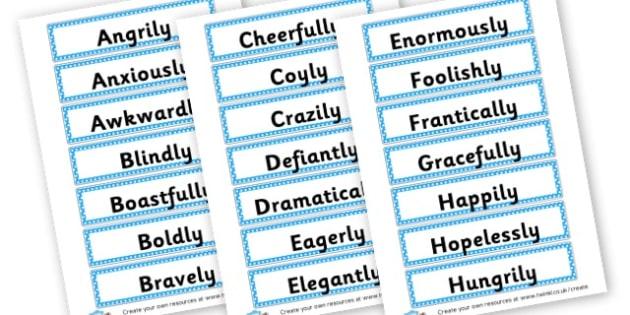 Adverbs Word Cards - KS2 Verbs and Adverbs Primary Resources, Verbs, Adverbs, KS2 Words