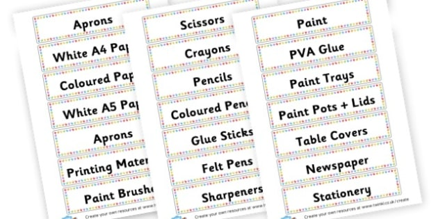 Art Area Equipment Labels - Classroom Areas Primary Resources, Posters, Areas, Zones, Banners