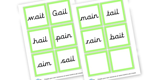 ai Sound Word Cards - Sound Families Primary Resources, sound, sounds, sound family
