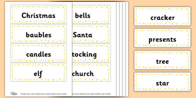 Christmas flash cards - Christmas Literacy Primary Resources, christmas, xmas, santa, tree