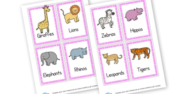 Animal Themed Word Cards - Animals Classroom Signs and Labels Primary Resources,  Labels