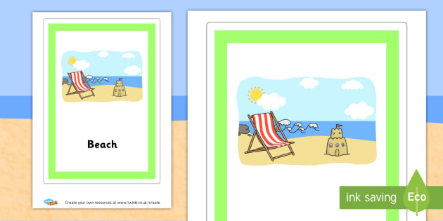 Beach Group Sign - The Seaside Literacy Primary Resources, beach, sun, sand