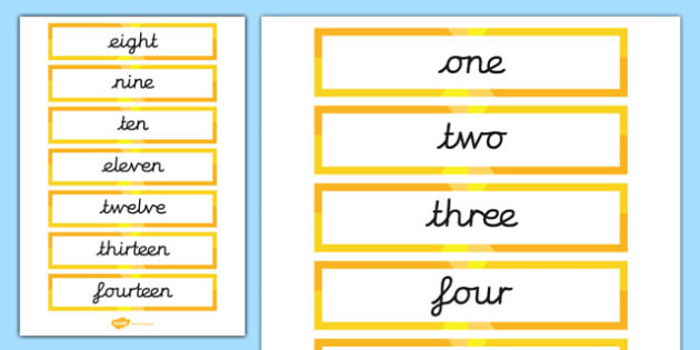 Number Cards - Year 1 Word Cards Primary Resources, card, maths, numbers