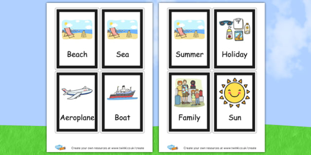 Summer Flashcards - Summer Literacy Primary Resources,Primary,Summer,Literacy,Words