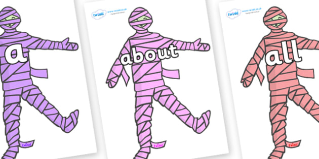 100 High Frequency Words on Mummies (Multicolour) - High frequency words, hfw, DfES Letters and Sounds, Letters and Sounds, display words