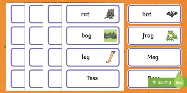 Hat Rhyming Game Word Cards