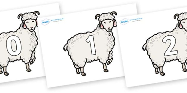 Numbers 0-31 on Small Billy Goats - 0-31, foundation stage numeracy, Number recognition, Number flashcards, counting, number frieze, Display numbers, number posters