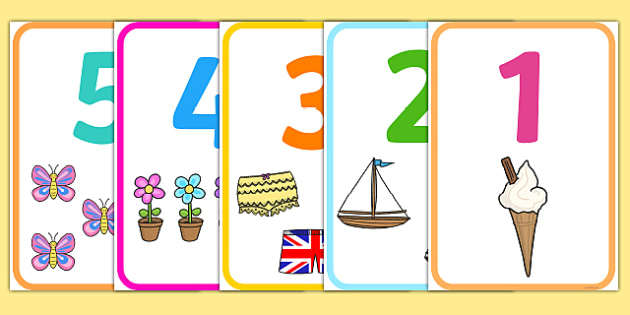 Number Picture Poster 1-20 - numbers, counting, display, twenty, ks1, eyfs, visual aid.