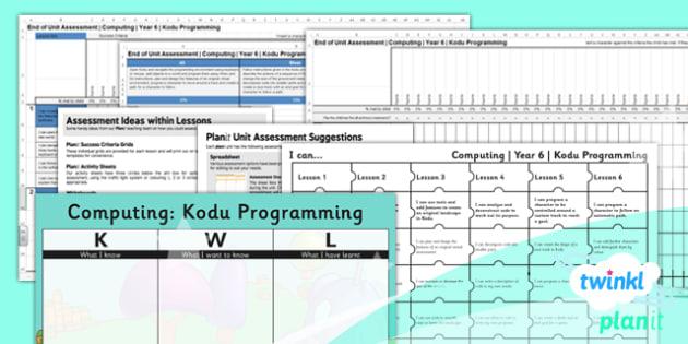 Computing: Kodu Programming Year 6 Unit Assessment Pack