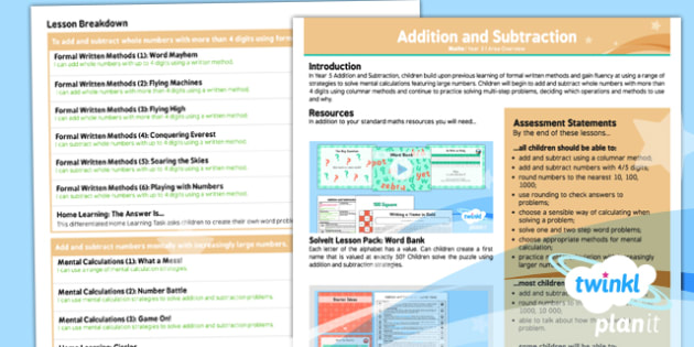 PlanIt Y5 Addition and Subtraction Overview - planit, year 5, addition and subtraction, overview
