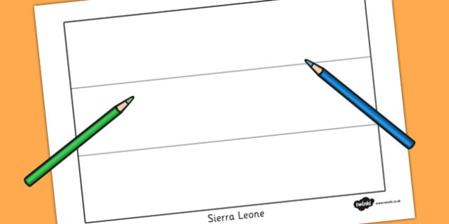 Sierra Leone Flag Colouring Sheet - countries, geography, flags