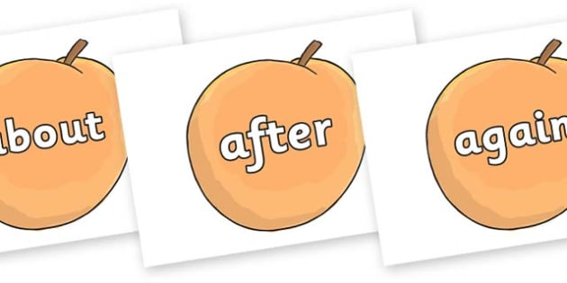 KS1 Keywords on Giant Peach to Support Teaching on James and the Giant Peach - KS1, CLL, Communication language and literacy, Display, Key words, high frequency words, foundation stage literacy, DfES Letters and Sounds, Letters and Sounds, spelling