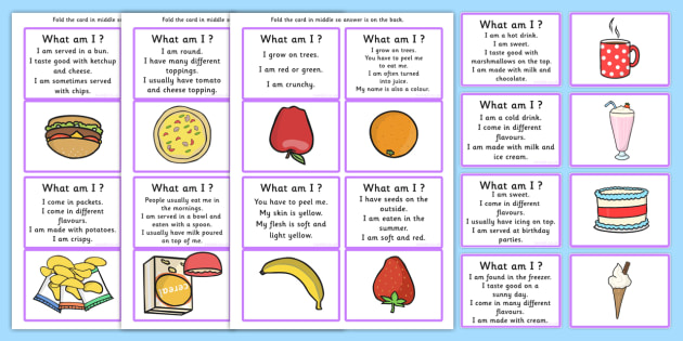 What Am I Guessing Game Cards Food Themed - game, card games, SEN