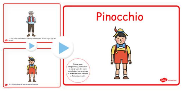 Povestea lui Pinocchio, lectura, rezumat cu imagini, powerpoint, Romanian