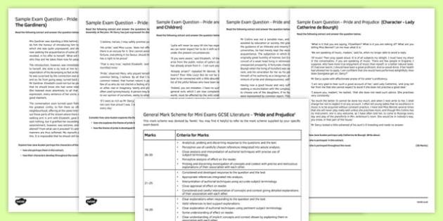 Pride and Prejudice (2) Mini Exam Pack, Jane Austin, Pride and Prejudice, GCSE, KS4, practice, practise, novel, text,