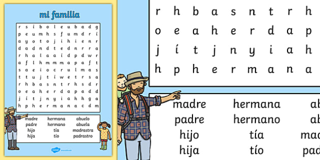 Mi Familia Word Search Spanish - spanish, my family, word search, wordsearch