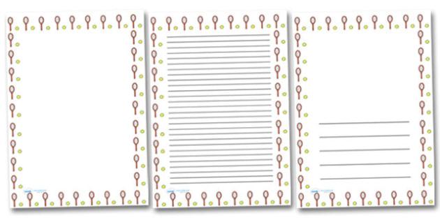 Tennis Portrait Page Borders- Portrait Page Borders - Page border, border, writing template, writing aid, writing frame, a4 border, template, templates, landscape