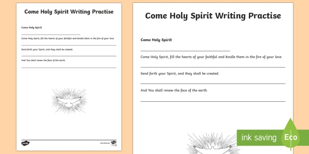 Come Holy Spirit Writing Practise Activity Sheet - CfE Catholic Christianity, prayers, mass responses, Holy Spirit ,Scottish, worksheet