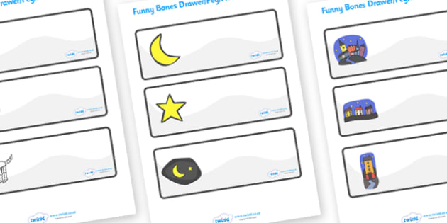 Drawer-Peg-Name Labels to Support Teaching on Funnybones - Funny Bones, Janet and Alan Ahlberg, Editable Drawer-Peg-Name Labels-Classroom Label Templates, Resource Labels, Name Labels, Editable Labels, Drawer Labels, Coat Peg Labels, Peg Label, KS1 L