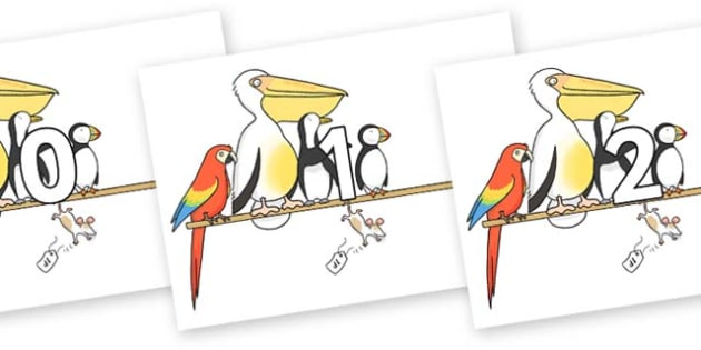 Numbers 0-50 on Pets on a Perch to Support Teaching on The Great Pet Sale - 0-50, foundation stage numeracy, Number recognition, Number flashcards, counting, number frieze, Display numbers, number posters