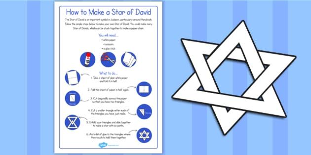 Fold and Cut Star of David Paper Activity - star of david, judaism, star, fold