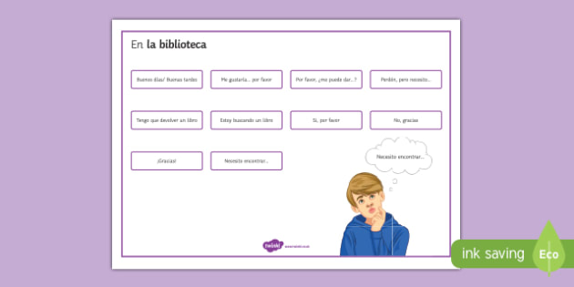 Expressions at the school library in Spanish Word Mat