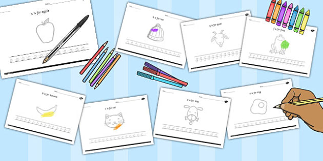 Alphabet Picture and Letter Tracing Lowercase - letters, pictures