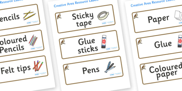 Osprey Themed Editable Creative Area Resource Labels - Themed creative resource labels, Label template, Resource Label, Name Labels, Editable Labels, Drawer Labels, KS1 Labels, Foundation Labels, Foundation Stage Labels