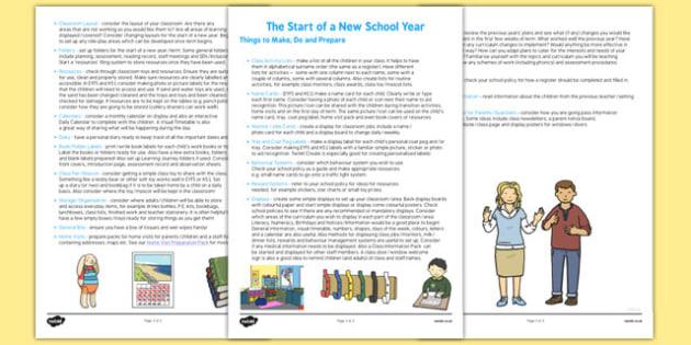 Start of a New School Year Checklist - new school, year, checklist