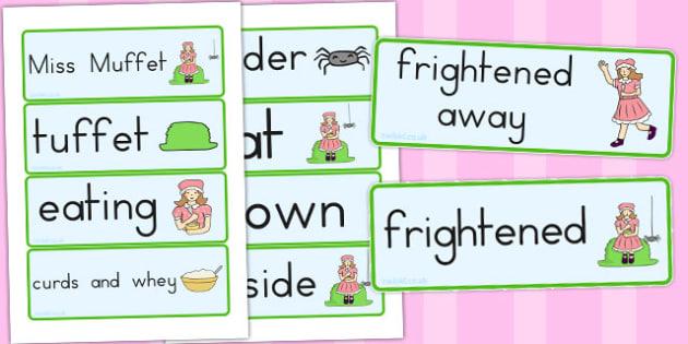 Little Miss Muffet Word Cards - australia, Little Miss Muffet
