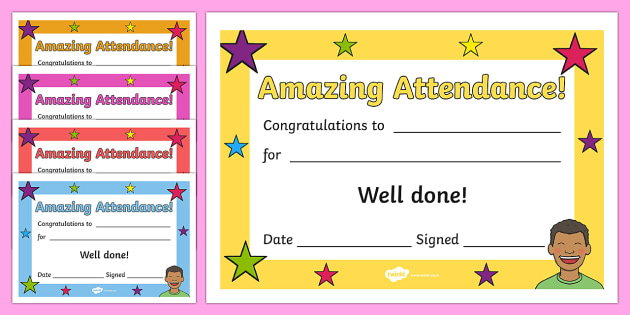 Amazing Attendance Award Certificates - amazing attendance award certificates, certificates, award, well done, reward, medal, rewards, school, general, certificate, achievement