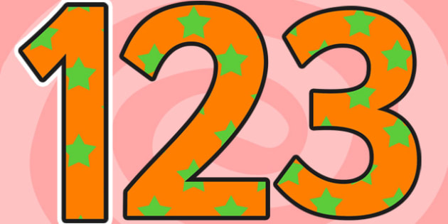 Orange and Green Stars Small Display Numbers - stars, numbers