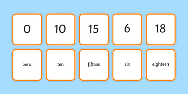 Number Snap Numerals and Number Words 0 20 - number snap, numerals, number words, 0-20,numberals, maths, numeracy, counting, game, activity, ks1, eyfs