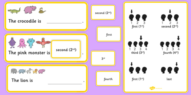 Fill In The Sentence Ordinal Numbers Time Concept Cards Set Two