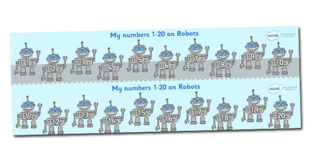 1-20 on Robots Number Strips - Maths, Math, number track, robot, Numberline, Number line, Counting on, Counting back, counting, robots