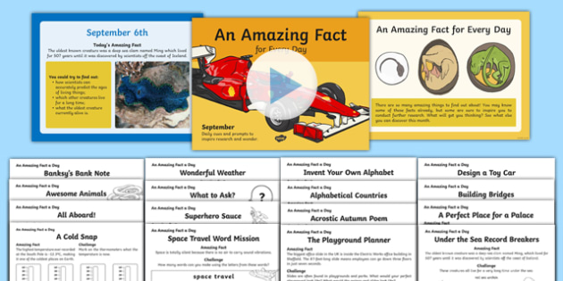 September Amazing Fact of the Day  Activity Sheet Pack, worksheet